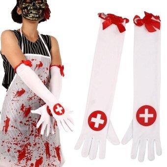 Halloween you must have it Halloween Nurse Bloody Cross Gloves LongWhite+Red Ballroom Fancy Dress Decors - intl