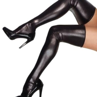 Halloween you must have it Halloween Stockings High Thigh CostumePatent Leather Solid Accessory Women - intl
