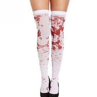 Halloween you must have it Women Dress Bloody Socks StockingsHalloween Gothic Scary Nurse Zombie Costume - intl