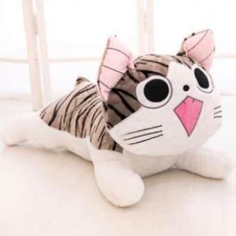 Happy Gifts Store ตุ๊กตา แมวจี้ ท่าหมอบ ตาเปิดSize M15นิ้ว ( สีเทา-ขาว )