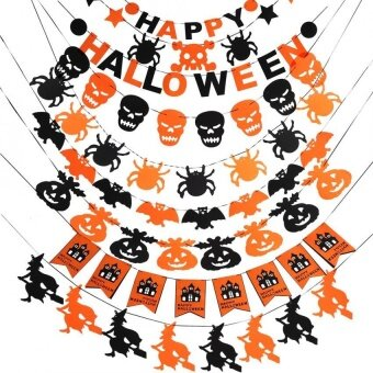 Happy Halloween Fabric String Banner Flag Garland Decor Party Ornaments(#7) - intl