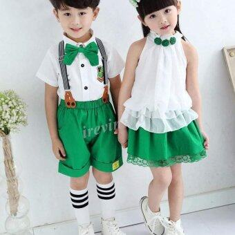 Happycat New Cute Children Kids Two Pieces Fashion Solid Loose\nFitting School Clothes Sets (Green and White) (90 (23Y))