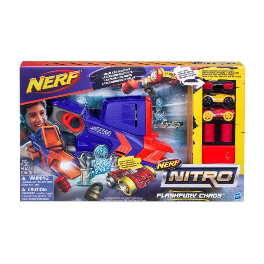 HASBRO NERF NITRO FLASHFURY CHAOS ฮาสโบร ปืนเนิร์ฟ ไนโตร แฟลชฟิวรี เคออส ปืนยิงรถแข่ง ลิขสิทธิ์แท้