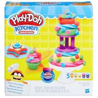 HASBRO PLAY DOH FROST N FUN CAKES ฮาสโบร เพลย์โดว์ ชุดแป้งโดว์เสริมทักษะ แป้งปั้นเพลย์โดว์ ฟรอสต์ แอนด์ ฟัน เค้ก ลิขสิทธิ์แท้