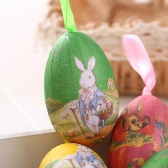 Holloween Colorful 6Pcs Foam Easter Eggs Crafts Ornaments DecorColor Random Hot Sale - intl