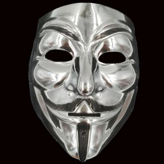 Holloween Gold/Silver V for Vendetta Guy Fawkes Mask AnonymousHalloween Costumes - intl