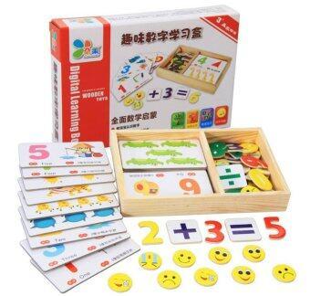 Home Shop ของเล่นเด็ก ชุดการ์ดตัวเลขไม้ Digital Learning Number Box