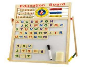 Home Shop ของเล่นเด็ก กระดาน 2 หน้า ไวท์บอร์ด/ดำ ลูกคิด สอนเลข ภาษาtoys Education Board