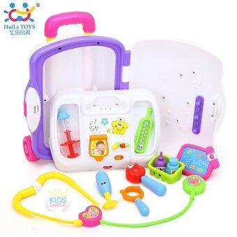 Huile toy ชุดกล่องเครื่องมือตรวจรักษาโรคแบบมีล้อพร้อมมือจับ Kids Doctor Play Set