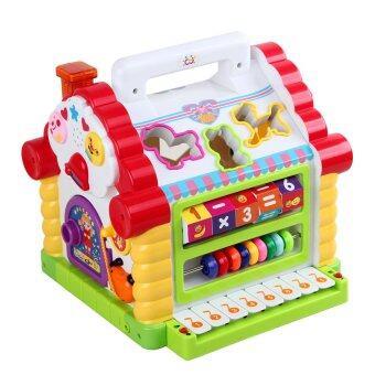 Huile Toys กล่องกิจกรรมบ้านหยอดบล็อคพร้อมออร์แกน - สีส้ม