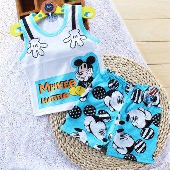 Summer Kids Cute Clothing Sets Casual Cartoon Boys Girls vest+shorts Suit - intl
