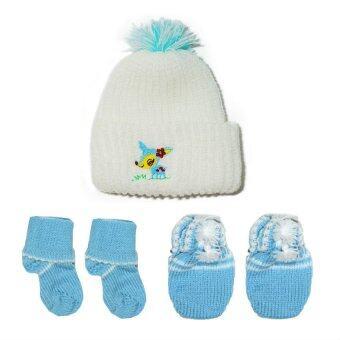P&Kชุดเด็กแรกเกิด เซ็ทไหมพรมเค้กกวางสีฟ้า สำหรับเด็กแรกเกิด- 3เดือน