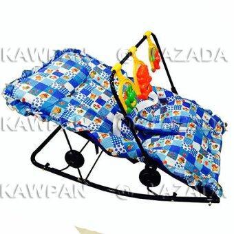 k.baby เปลโยก + มีดนตรี + โมบายของเล่น ปรับ 3 ระดับ นั่ง/เอน/นอน (สีน้ำเงิน คละลาย)