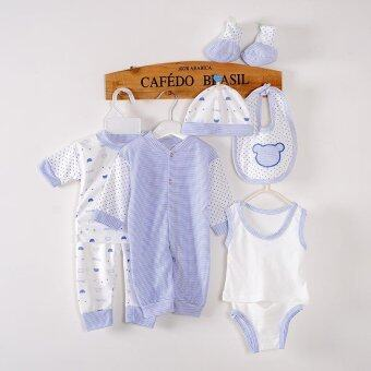 Baby Cartoon Cotton Can Open the Crotch Suit 8 Pieces Gift Set - Blue - intl