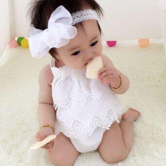 Super Cute Baby Girls Lace Decor Romper Sleeveless Fashion Lovely Printing Jumpsuit- white - intl