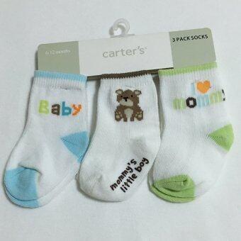 Baby ถุงเท้าเด็กแรกเกิด - 6เดือน set 3คู่ สีฟ้าเขียว