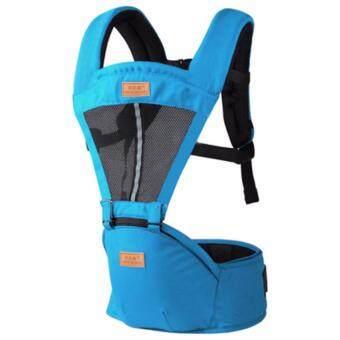 สีน้ำเงิน มัลติฟังก์ชั่ ระบายอากาศได้ ไหล่คู่ Baby Carrier ผู้ให้บริการทารก เอว เข็มขัด with เอว ม้านั่ง