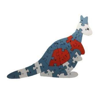 ของเล่นไม้เสริมพัฒนาการสำหรับเด็ก จิ๊กซอว์เรียงเลขและตัวอักษรภาษาอังกฤษรูปสัตว์ (ลายจิงโจ้) Wood Toy Jigsaw Kangaroo