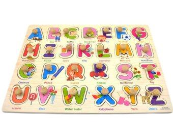 KIDSSHOP HATYAI ของเล่น เสริมทักษะ จิ๊กซอว์ไม้หมุดแม่เหล็ก เรียนรู้คำศัพท์ ชุด ABC