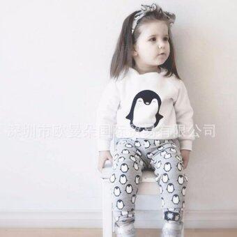 Little Monster เสื้อ+กางเกงเข้าชุด ลายเพนกวินตัวอ้วน สีขาว สำหรับเด็กอายุ 6-18 เดือน