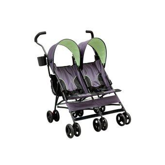 Delta Children รถเข็นเด็กแฝด LX Side by Side Tandem Umbrella Stroller, Lime Green