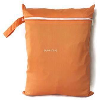 BABYKIDS95 ถุงผ้ากันน้ำ 1 ช่อง หูจับกระดุม Size: 34x40 cm. สำหรับใส่ผ้าอ้อม หรือผ้าเปียก สีพื้น A19 (สีส้ม)