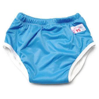 BABYKIDS95 กางเกงผ้าอ้อมแบบสวม รุ่นแบมบู กันน้ำ Size:L รอบเอว 16-22 นิ้ว (สีน้ำเงิน)