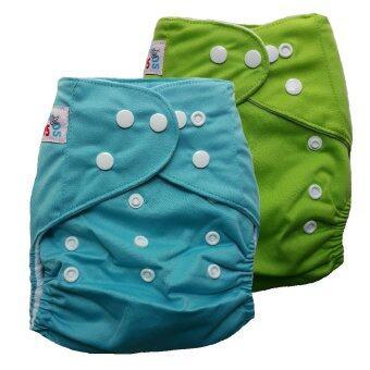 BABYKIDS95 กางเกงผ้าอ้อมเด็ก กันน้ำ ไซส์เด็ก 3-16กก. เซ็ท 2ตัว (สีฟ้า/สีเขียว)