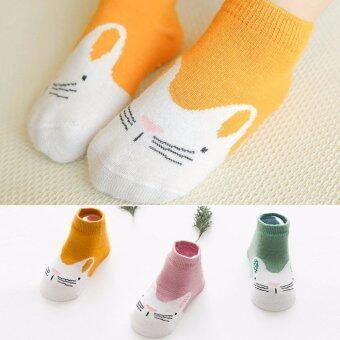 ถุงเท้าเด็ก มีกันลื่น เซ็ต 3 สี ลายหน้ากระต่าย อายุ 1-3 ปี # 120011