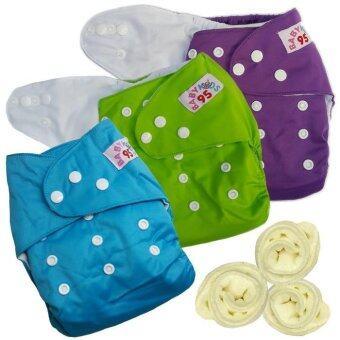 กางเกงผ้าอ้อมกันน้ำ+แผ่นซับไมโครฯ Size:3-16กก. เซ็ท3ตัว (Purple/Green/Blue)(Multicolor Others)