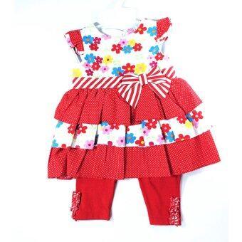 Twinbbkids ชุดเดรสสีแดงลายดอกไม้สดใส กางเกงเลกกิ้ง (9 เดือน)