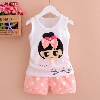 Harga Bear Fashion Baby Clothing Kids Summer Girls Polka Dot Cute Clothes 2pcs Set Suit - intl