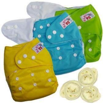 กางเกงผ้าอ้อมกันน้ำ+แผ่นซับไมโครฯ Size:3-16กก. เซ็ท3ตัว (Green/Blue/Yellow)