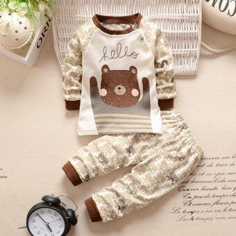 Harga Bear Fashion Baby Boys Girls Casual Clothes Kids 2Pcs Long Sleeve Top + Pant Clothing Set - intl