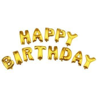จดหมายสุขสันต์วันเกิดลูกโป่งบอลลูนผ้าอะลูมิเนียมสำหรับการตกแต่งงานปาร์ตี้วันเกิด (โกลเด้น)