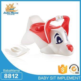 Babamama กระโถนโถสุขภัณฑสำหรับเด็กพลาสติก รูปสุนัข รุ่น 8812 สีขาวแดง