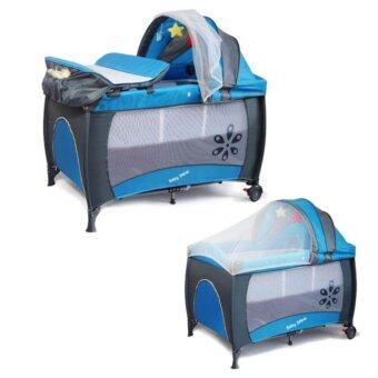 เตียงนอนเด็ก 3 in 1 สีน้ำเงิน