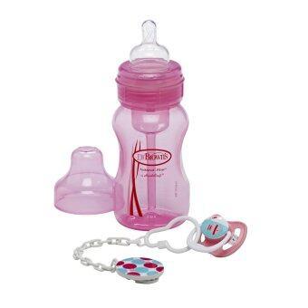 Dr.Brown's ขวดนมพร้อมจุกหลอก Wide-Neck Bottle + Soother Gift Set - Pink