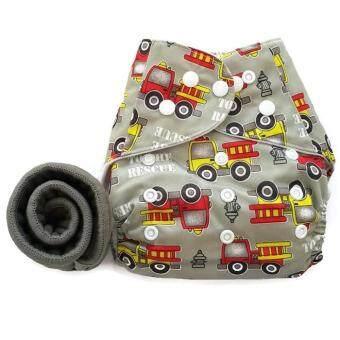 BABYKIDS95 กางเกงผ้าอ้อมกันน้ำ+แผ่นซับชาโคล Size:3-16กก. (Grey Fire Truck)