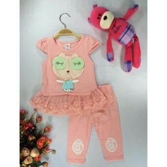 ple shop เสื้อลายการ์ตูนแต่งชายผ้าลูกไม้+กางเกงเลคกิ้ง สีโอโรส