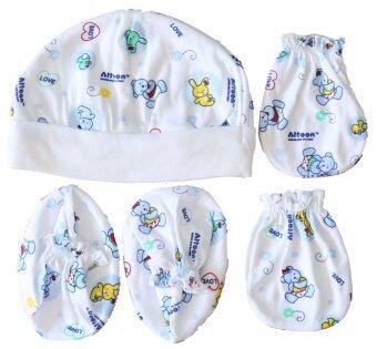 Attoon ชุดหมวก ถุงมือ ถุงเท้า เด็กแรกเกิด ผ้า Cotton - สีเขียว