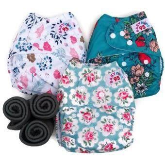 BABYKIDS95 กางเกงผ้าอ้อมกันน้ำ+แผ่นซับชาโคล เซ็ท3ตัว ไซส์เด็ก 3-16กก. (สีขาวลายดอกไม้,สีฟ้าลายดอกไม้,สีเขียวลายดอกไม้)