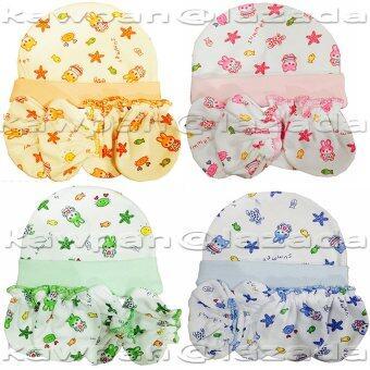 k.baby ชุดหมวก + ถุงมือถุงเท้า ผ้า cotton 100% แพ๊ค 4 สี (ฟ้า สัม เขียว ชมพู)