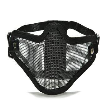 Velishy Airsoft ตาข่ายเหล็กครึ่งยุทธวิธีตีวันฮาโลวีนหน้ากากใบหน้าป้องกันสีดำ