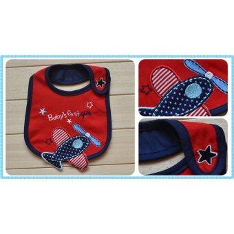 ผ้ากันเปื้อน ผ้าซับน้ำลายเด็ก สีแดง baby's first 4th