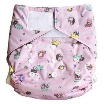 Baboon baby กางเกงผ้าอ้อมซักได้ ฟรีไซส์ แรกเกิด-2ขวบ เอวเทป พร้อมแผ่นซับชาโคลแบมบู5ชั้น (ลายNIGHT)