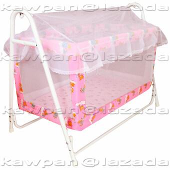K.baby เปลไกวเด็กอ่อน ลายแฟนซี ขนาด (60 x 102 x 83) + มุ้งกันยุงและมลง (สีชมพู)