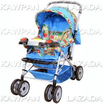 Attoon รถเข็นเด็ก ปรับ 3 ระดับ (นั่ง/เอน/นอน) + เสียงดนตรี รุ่นใหญ่พิเศษ - สีฟ้า
