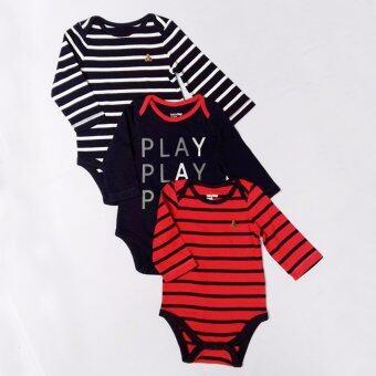 BabyGap บอดี้สูท ลายทางขวาง สีขาวสลับกรมท่า สีแดง ปักโลโก้หมีที่หน้าอก สีกรมสกรีน PLAY