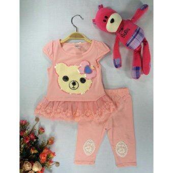 ple shop เสื้อปักเลื่อมลายหมีแต่งชายผ้าลูกไม้+กางเกงเลคกิ้ง สีโอโรส